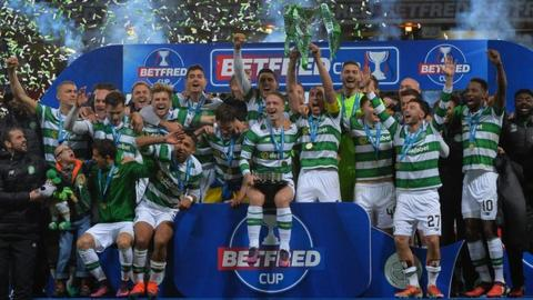 Celtic celebrate their League Cup triumph