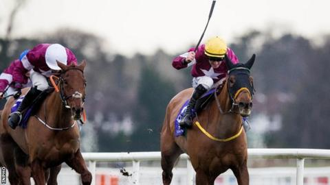 Road To Respect charges to the finish line under Sean Flanagan to win the Leopardstown Christmas Chase