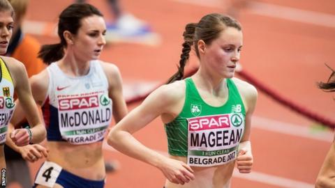 Ciara Mageean in action at the European Indoor Championships earlier this year