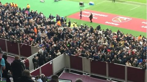 West Ham fans gathered to protest in front of the directors' box against Burnley