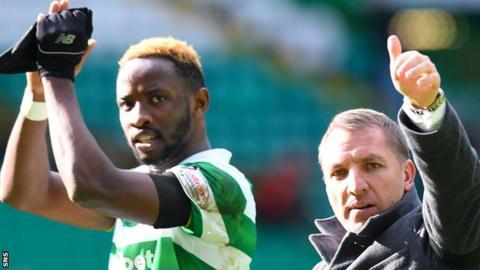 Celtic's Moussa Dembele and Brendan Rodgers celebrate