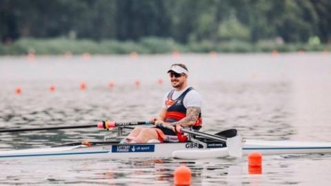 Ben Pritchard rowing in Poznan, Poland