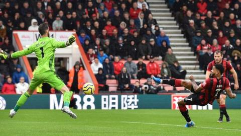 Joshua King scores against Manchester United