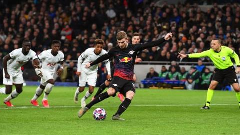 Timo Werner steps up and places it expertly in the bottom corner. Hugo Lloris went the right way but the kick powered past him