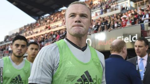 Wayne Rooney before coming on as a substitute for DC United