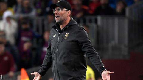 Jurgen Klopp on the touchline at the Nou Camp