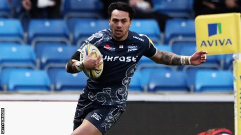 Denny Solomona scored one of eight Sale tries - his 12th of the season - in Saturday's win at Worcester