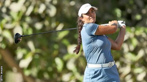 Kelsey MacDonald plays a shot at the Dubai Ladies Classic