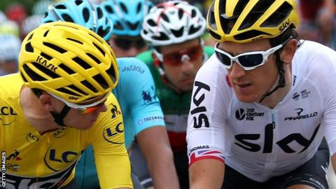 Geraint Thomas (r) with Chris Froome
