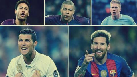 (Clockwise from top left) Neymar, Kylian Mbappe, Kevin de Bruyne, Cristiano Ronaldo and Lionel Messi