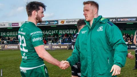 Connacht's Tom Daly and Shane Delahunt