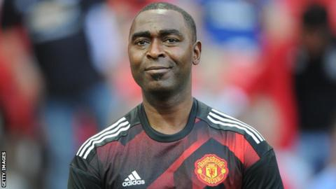 Andrew Cole during a Manchester United Legends match