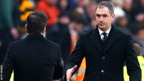 Paul Clement with Hull City boss Marco Silva