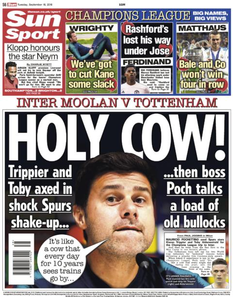 The Sun back page on Tuesday