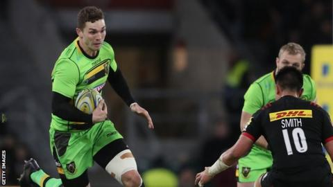 George North looks to take on Harlequins' fly-half Marcus Smith
