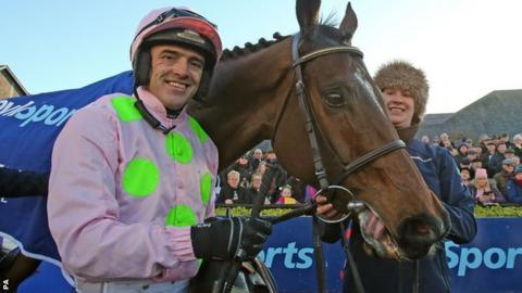Ruby Walsh with Douvan after victory at Punchestown