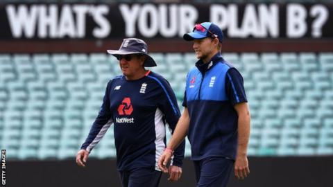 England coach Trevor Bayliss and captain Joe Root