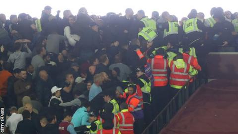 Crowd trouble at West Ham's EFL Cup win over Chelsea