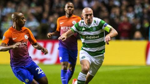 Celtic captain Scott Brown in action against Manchester City in the Champions League