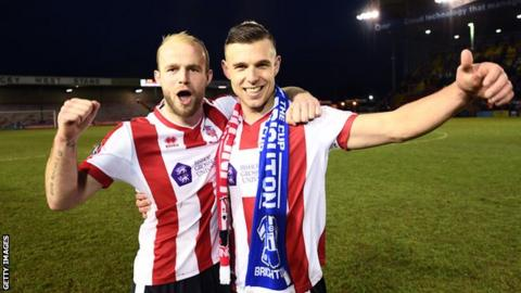 Jack Muldoon with Lincoln team mate Bradley Wood