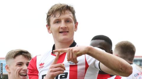 Will Boyle has scored five goals in 37 appearances for Cheltenham Town this term