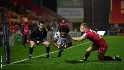 Wing Henry Speight dives over for Ulster's second try at Parc y Scarlets