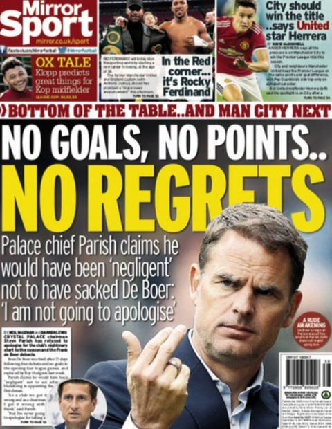 Crystal Palace chairman Steve Parish claims he would have been 'negligent' not to have sacked Frank de Boer