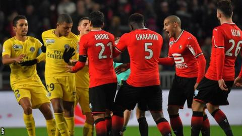 Kylian Mbappe (second left) reacts against Rennes in the French League Cup semi-final