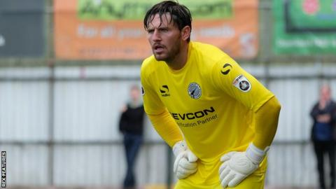 Goalkeeper James Montgomery in action for Gateshead
