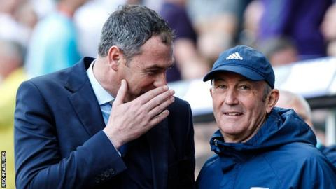 Paul Clement and Tony Pulis shares a joke before Swansea's Premier League win against West Brom in May, 2017
