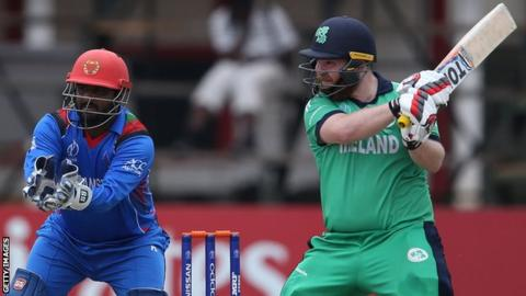Afghanistan's Mohammad Shahzad and Ireland's Paul Stirling