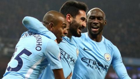 (Left to right) Fernandinho, Ilkay Gundogan and Eliaquim Mangala