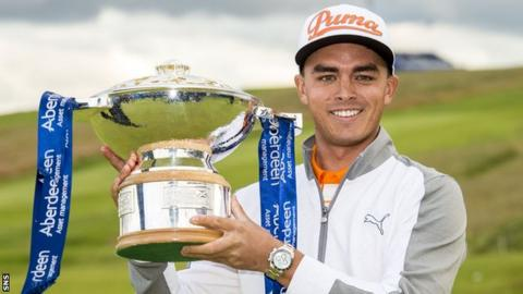 Rickie Fowler with the Scottish Open trophy