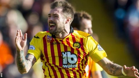 Jordan McMillan in action for Partick Thistle against Dundee United in October 2014