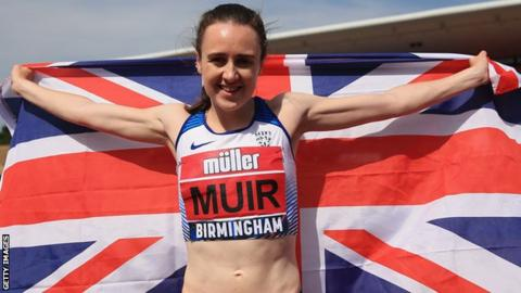 Laura Muir celebrates her win in the Women's 800m final at the British Championships in Birmingham
