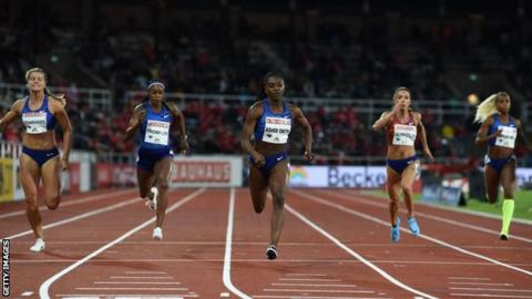 Dina Asher-Smith wins the 200m at the Stockholm Diamond League in May