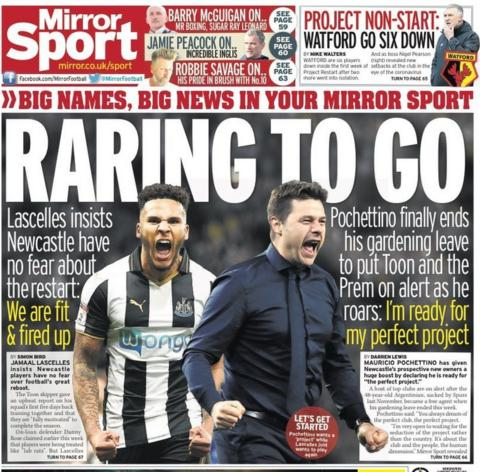 The back page of the Daily Mirror