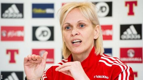 Shelley Kerr makes a point as she speaks to the media on Wednesday