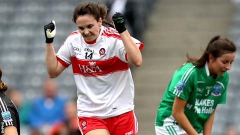 Derry's Megan Devine celebrates after scoring her second-half goal