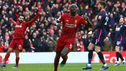 Liverpool's Sadio Mane celebrates scoring against Bournemouth