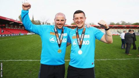 Salford City managers Anthony Johnson and Bernard Morley celebrate with their National League North winners' medals