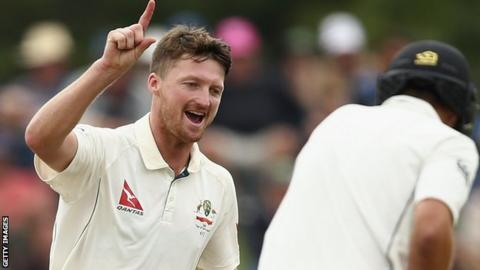 Jackson Bird of Australia celebrates after taking the wicket of Tim Southee of New Zealand
