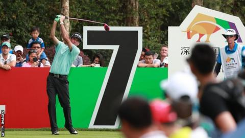 Bubba Watson in action in the first round of the Shenzhen International in China