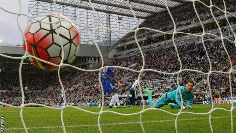 Ayoze Perez wheels away after scoring Newcastle's first goal