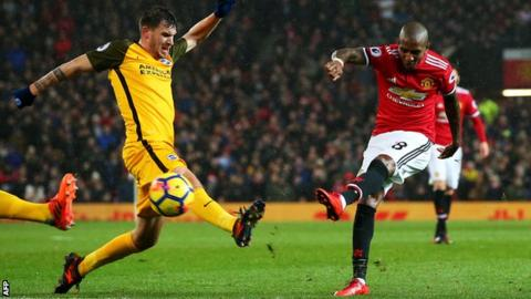 Ashley Young scores for Manchester United against Brighton