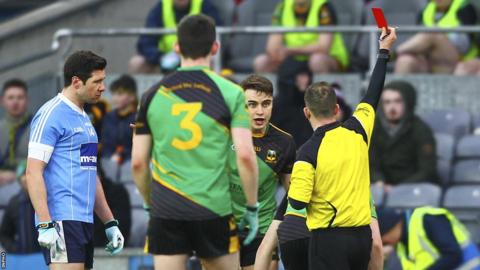 Caoileann Fitzmaurice of Michael Glaveys was sent off by referee Brendan Cawley