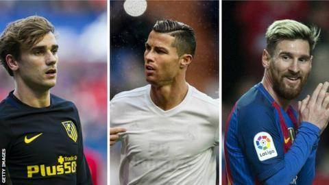 Antoine Griezmann, Cristiano Ronaldo and Lionel Messi