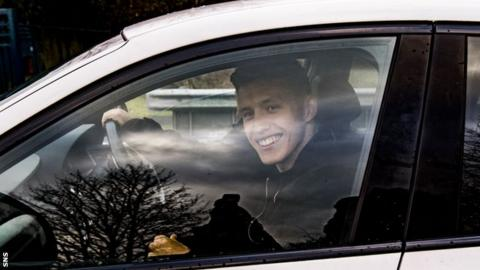 Midfielder Greg Docherty arrives at Rangers' training ground