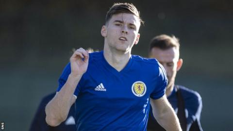 Scotland defender Kieran Tierney during training this week