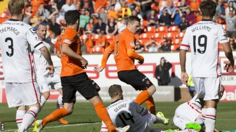 Billy McKay (centre) scored the opener for Dundee United